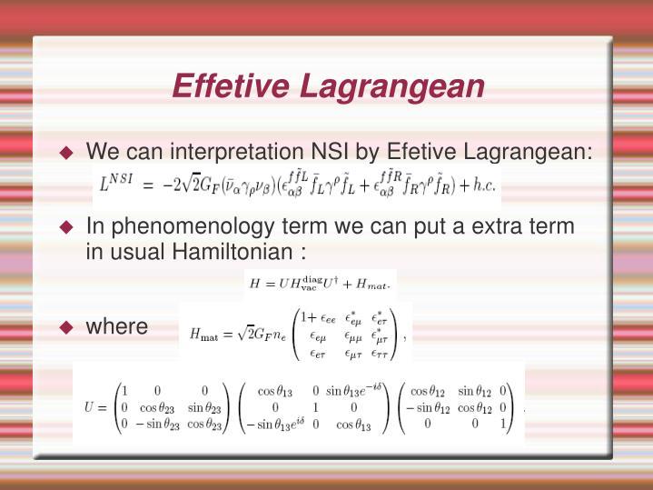 Effetive Lagrangean