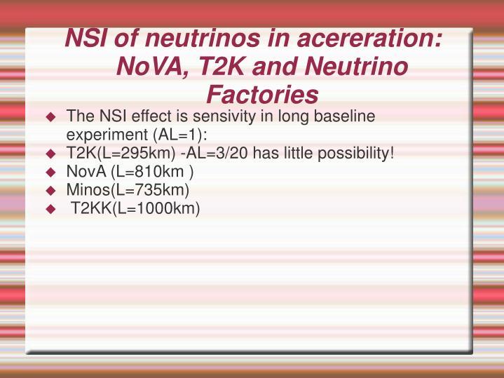 NSI of neutrinos in acereration: NoVA, T2K and Neutrino Factories