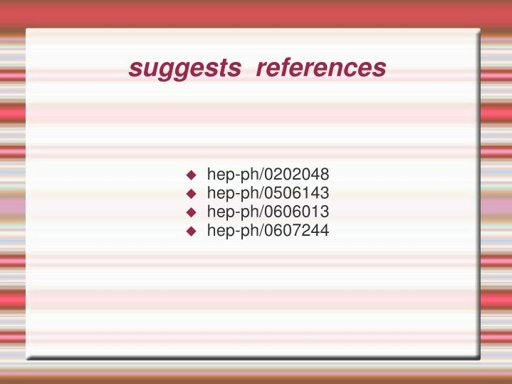 Suggests references