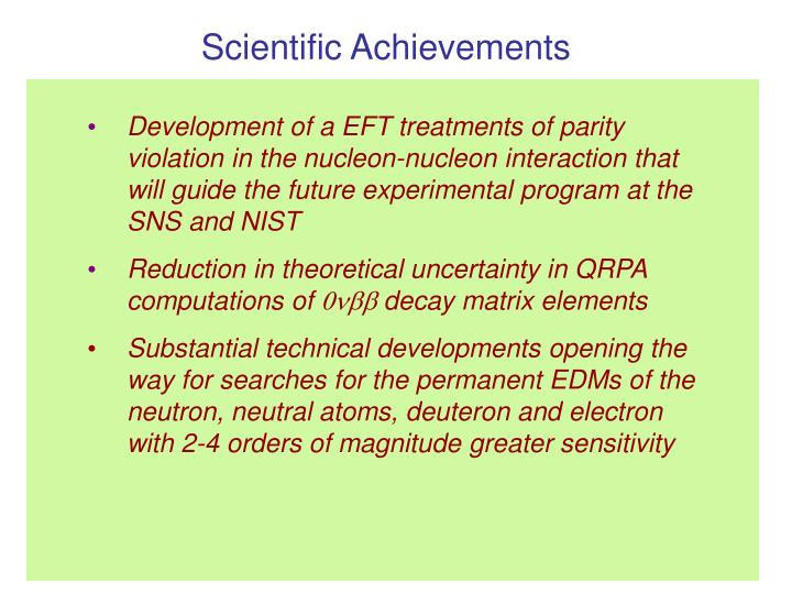 Scientific Achievements