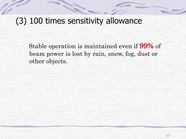 (3) 100 times sensitivity allowance