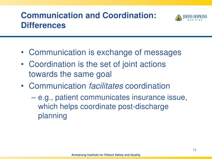 Communication and Coordination: Differences