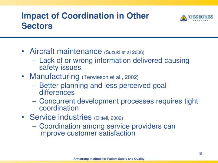 Impact of Coordination in Other Sectors