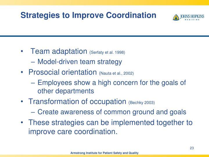 Strategies to Improve Coordination