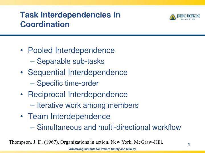 Task Interdependencies in Coordination