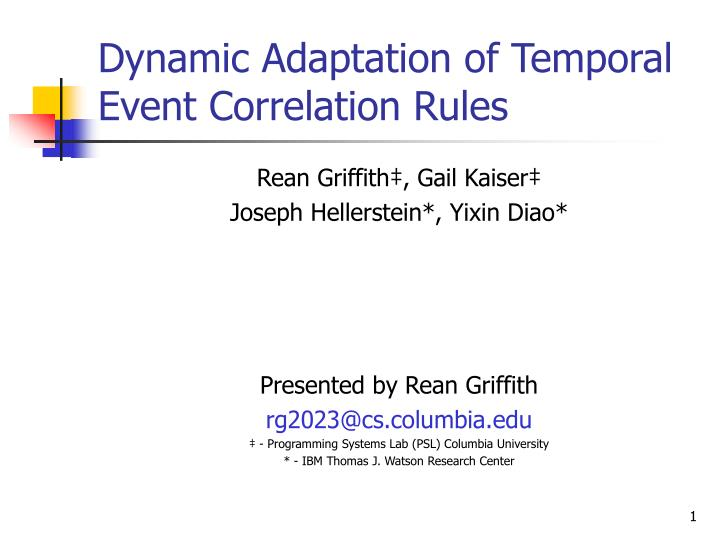 dynamic adaptation of temporal event correlation rules n.