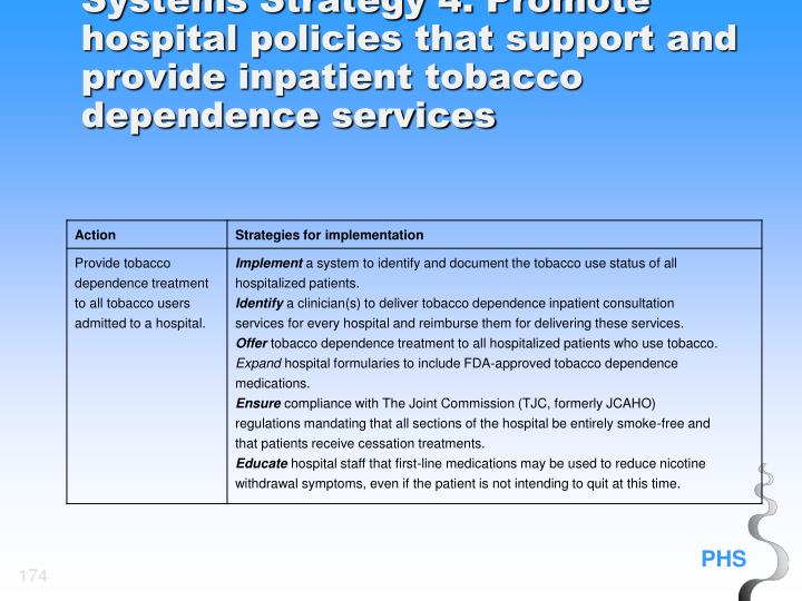 Systems Strategy 4. Promote hospital policies that support and provide inpatient tobacco dependence services