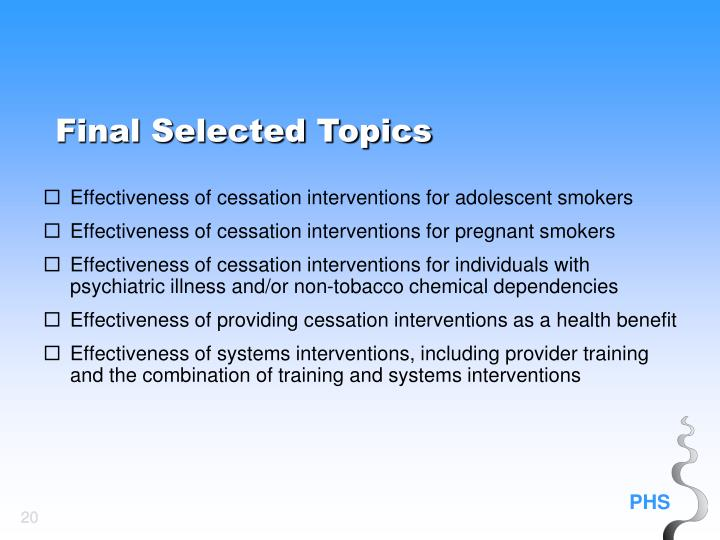 Effectiveness of cessation interventions for adolescent smokers