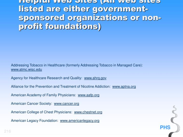 Helpful Web Sites (All web sites listed are either government-sponsored organizations or non-profit foundations)
