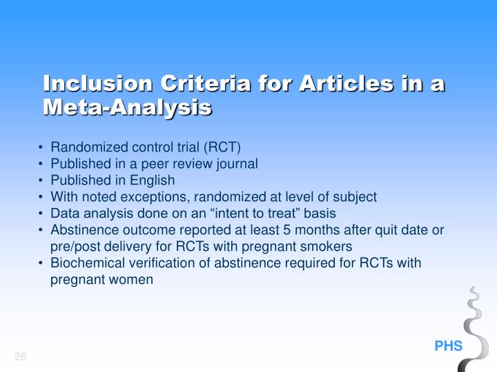 Inclusion Criteria for Articles in a Meta-Analysis
