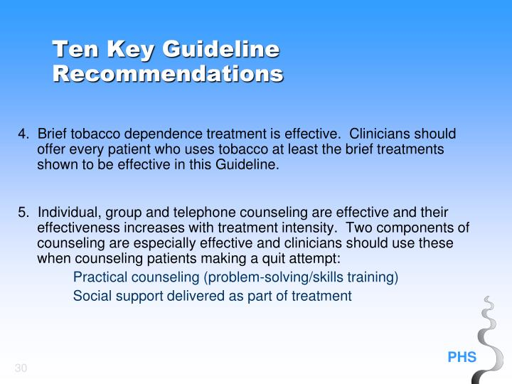 Ten Key Guideline Recommendations