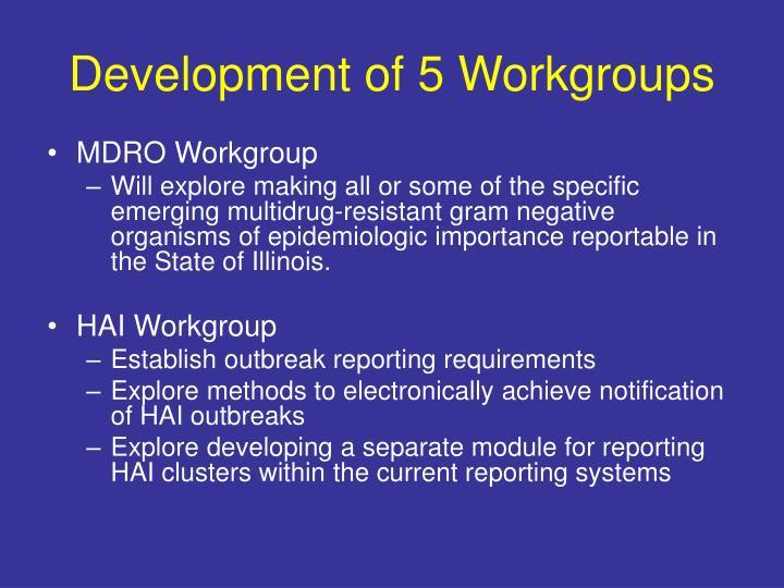 Development of 5 Workgroups