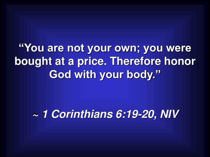 """""""You are not your own; you were bought at a price. Therefore honor God with your body."""""""