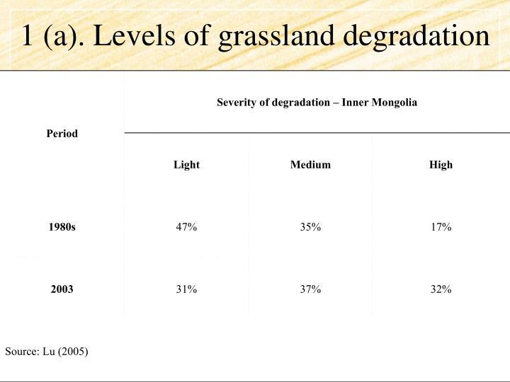 1 (a). Levels of grassland degradation