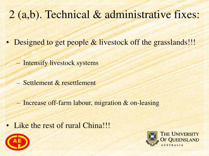 2 (a,b). Technical & administrative fixes: