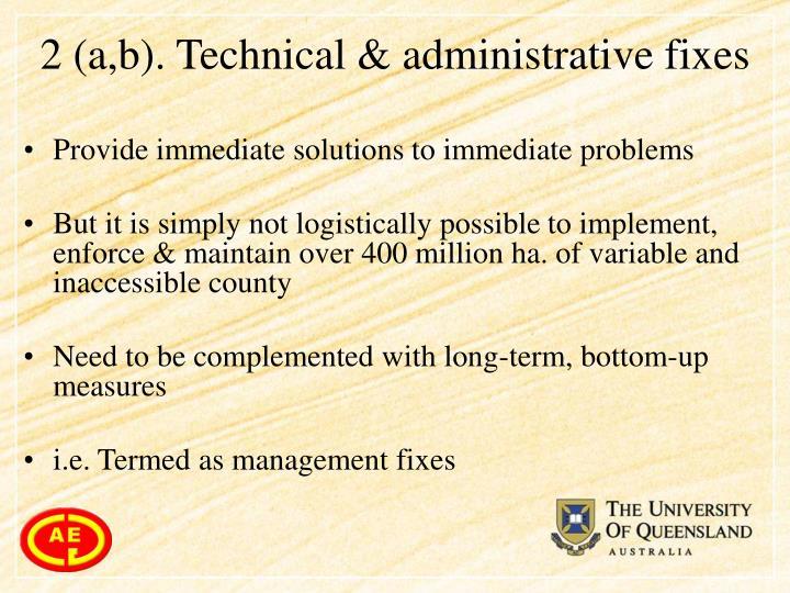 2 (a,b). Technical & administrative fixes