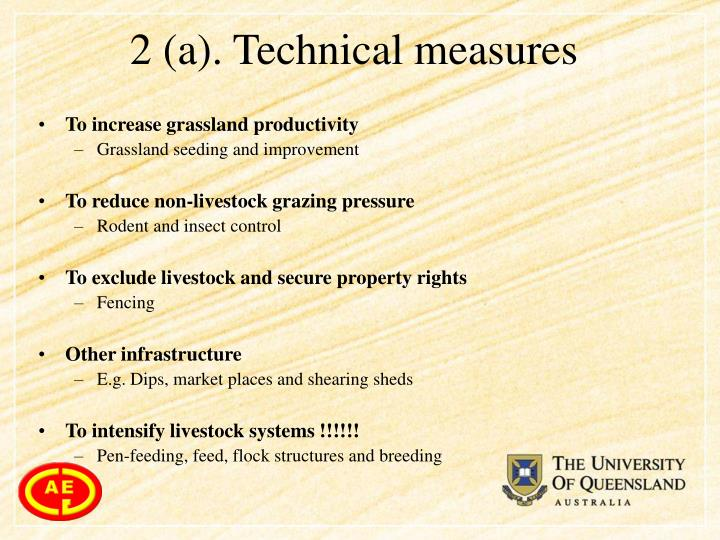 2 (a). Technical measures