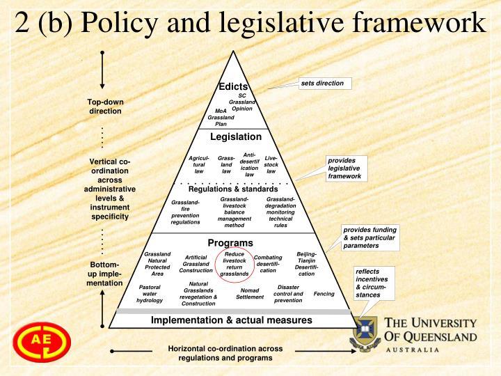 2 (b) Policy and legislative framework