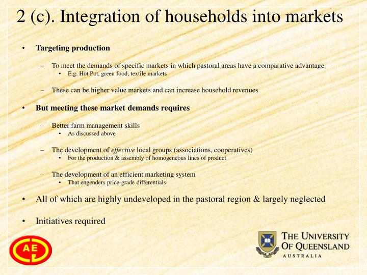 2 (c). Integration of households into markets