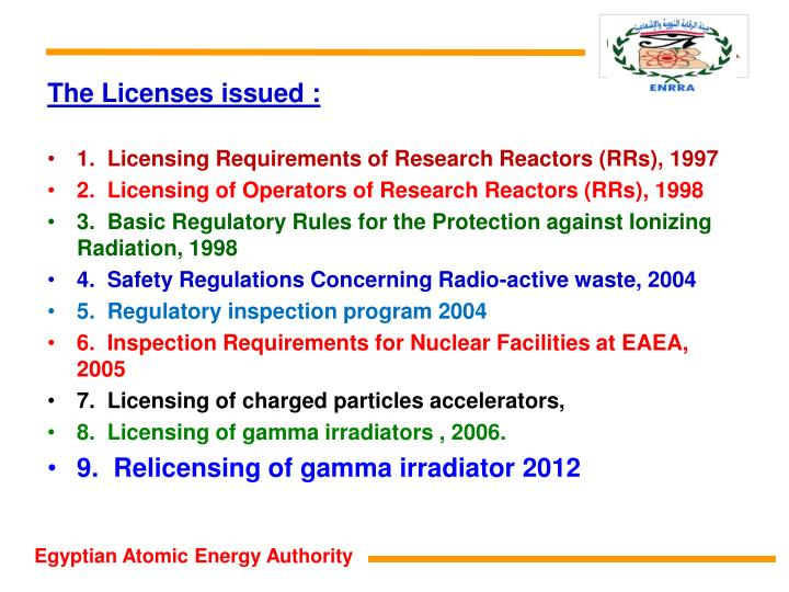 The Licenses issued :