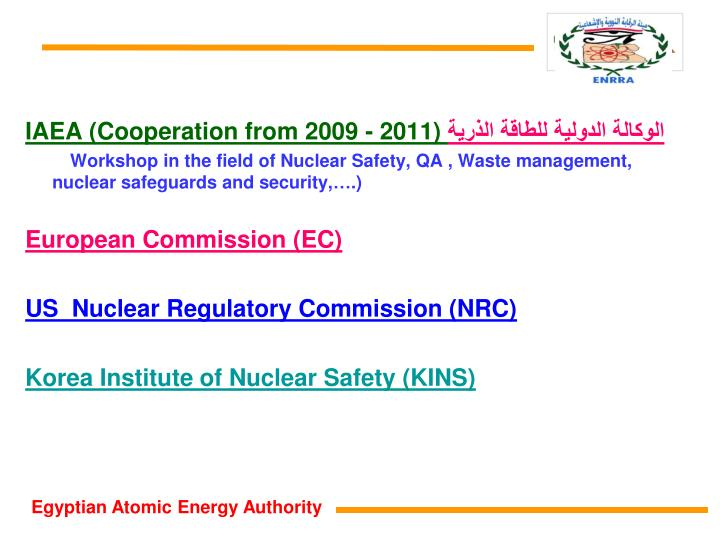 IAEA (Cooperation from 2009 - 2011)