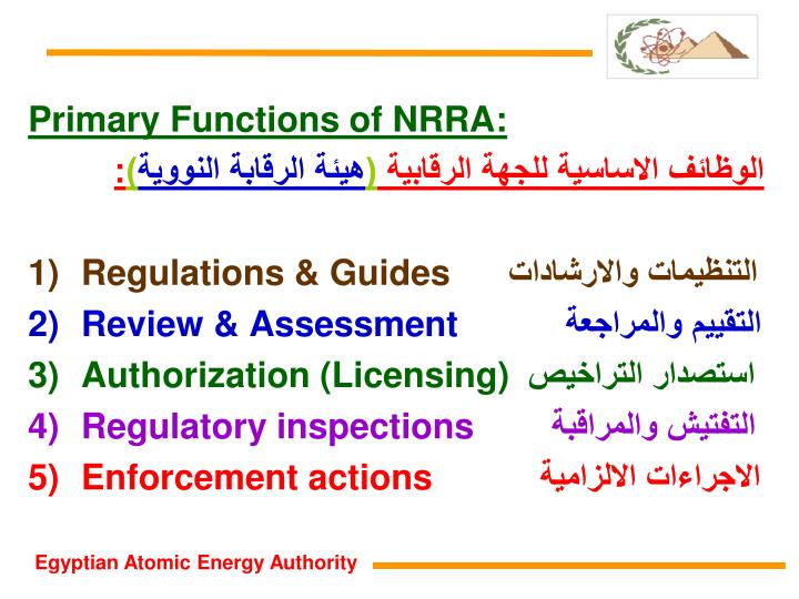 Primary Functions of NRRA: