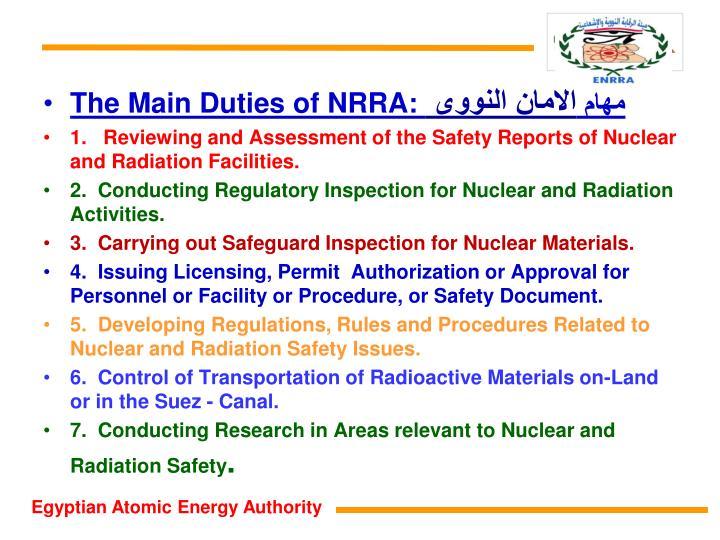 The Main Duties of NRRA: