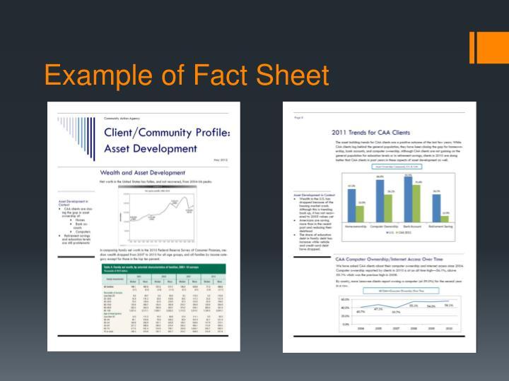 Example of Fact Sheet