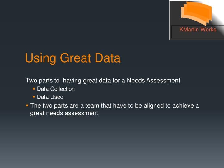 Two parts to  having great data for a Needs Assessment