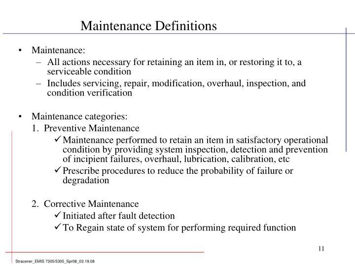 Maintenance Definitions