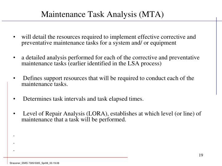 Maintenance Task Analysis (MTA)