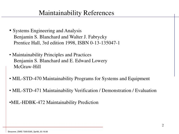 Maintainability References