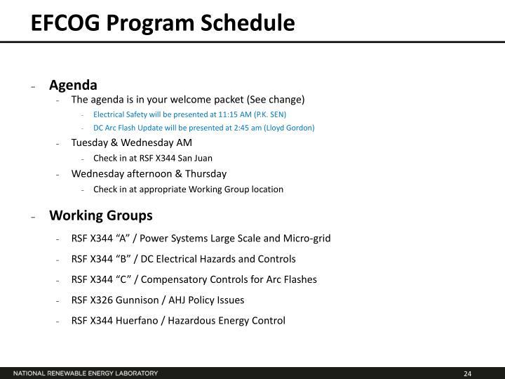 EFCOG Program Schedule