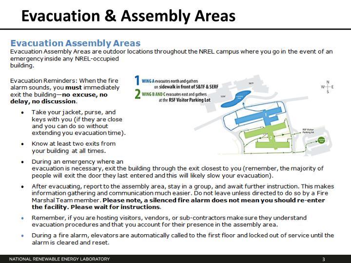 Evacuation assembly areas