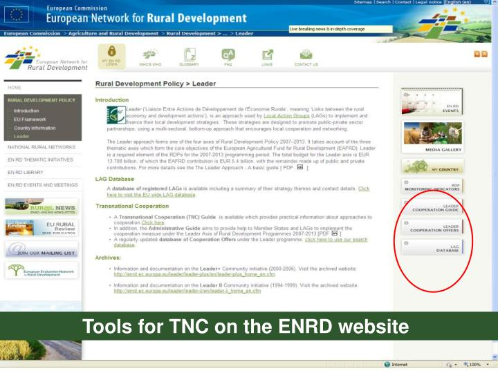 Tools for TNC on the ENRD website