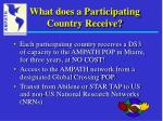 what does a participating country receive