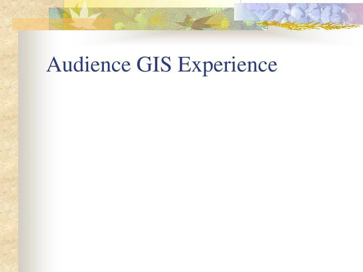 Audience gis experience