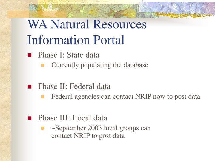 WA Natural Resources Information Portal