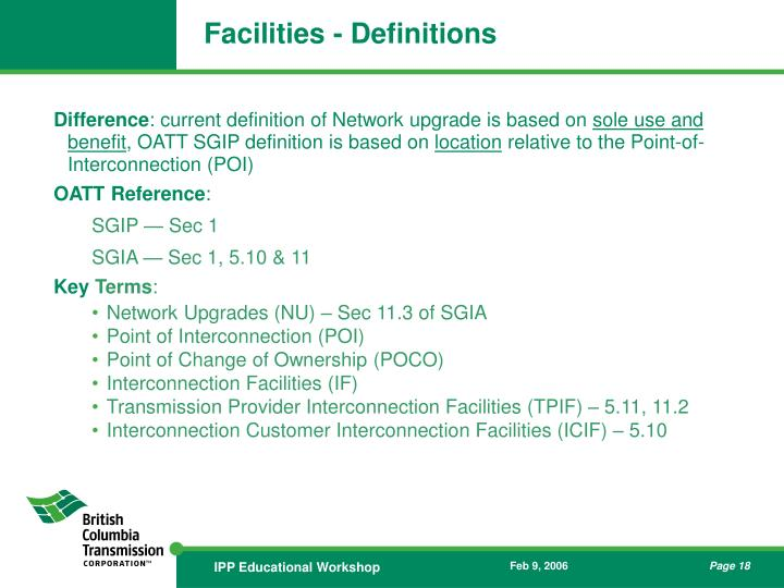 Facilities - Definitions