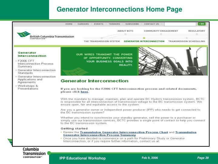 Generator Interconnections Home Page
