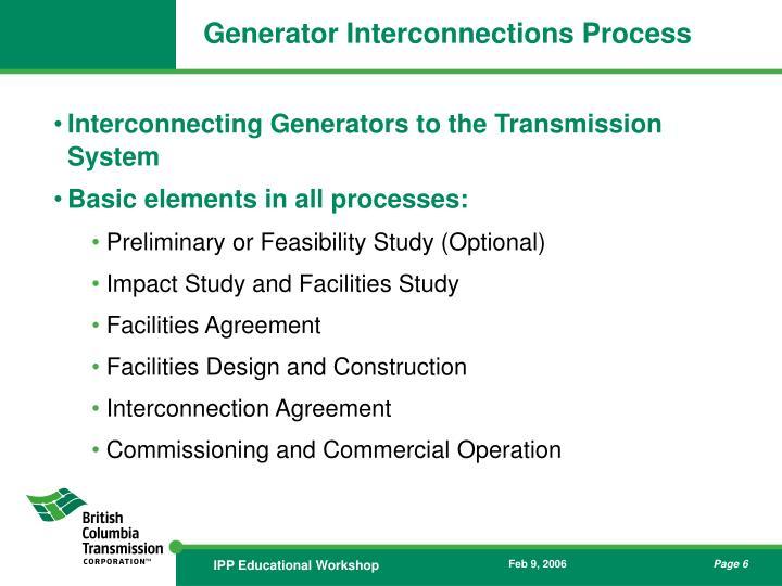 Generator Interconnections Process