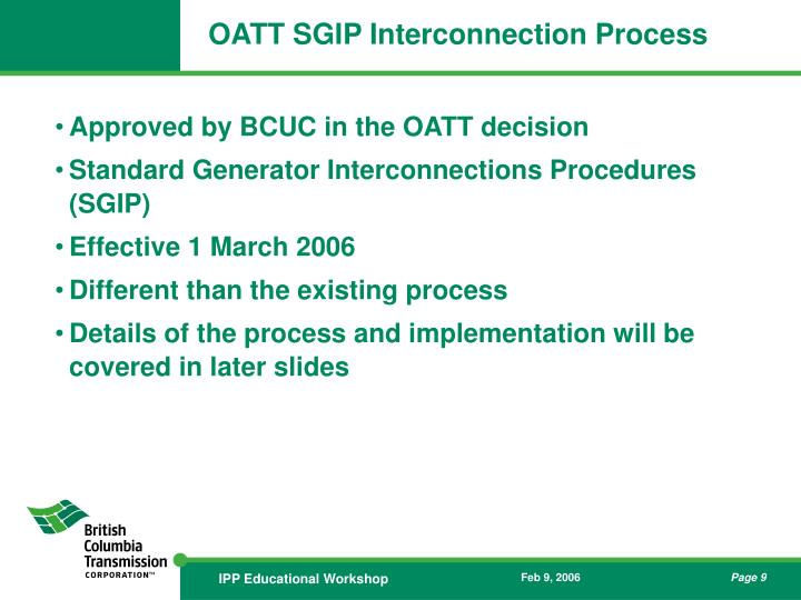 OATT SGIP Interconnection Process