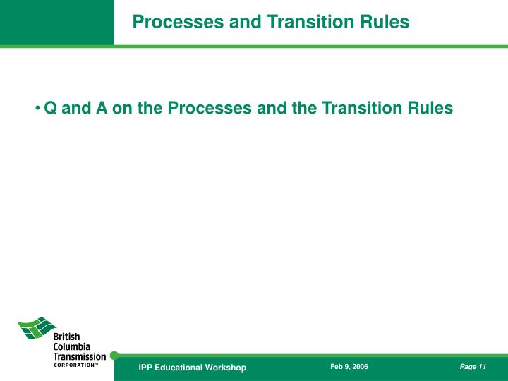 Processes and Transition Rules