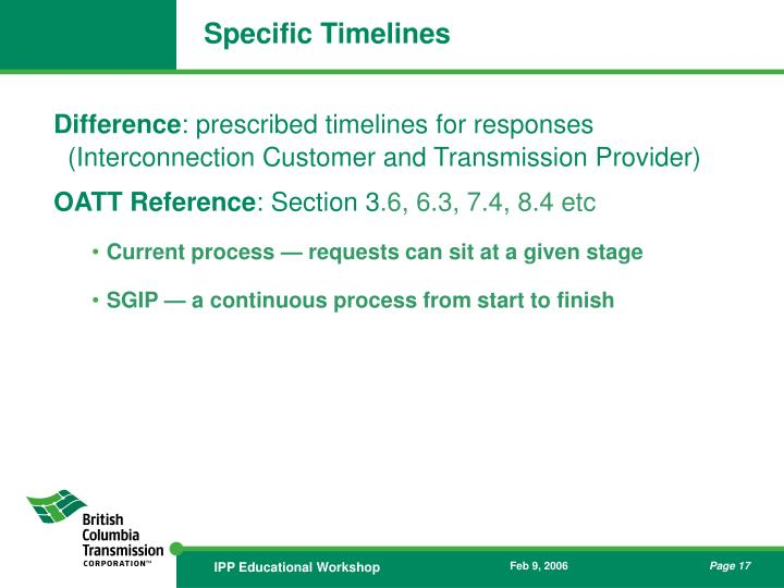Specific Timelines
