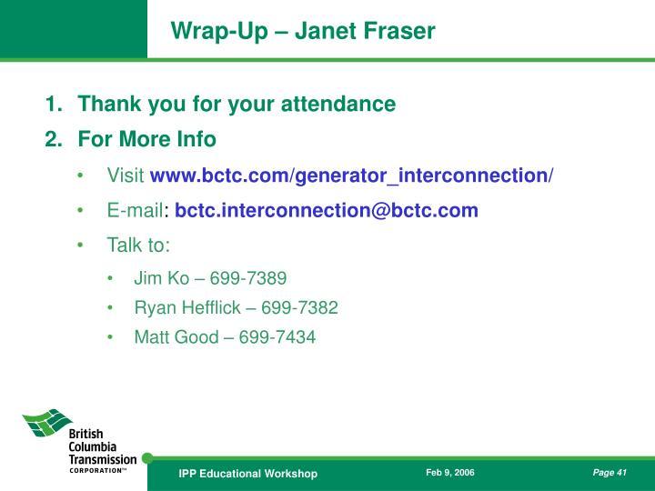Wrap-Up – Janet Fraser