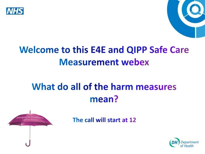 welcome to this e4e and qipp safe care measurement webex what do all of the harm measures mean n.