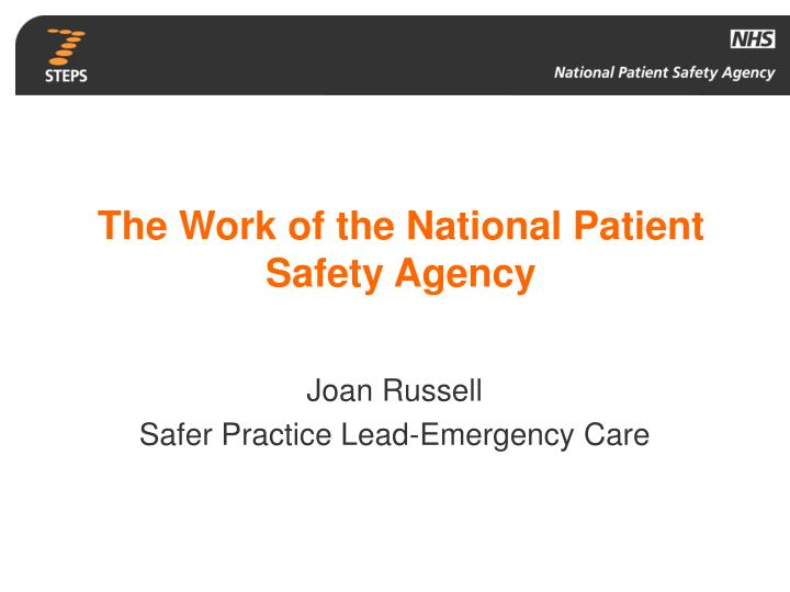 the work of the national patient safety agency n.