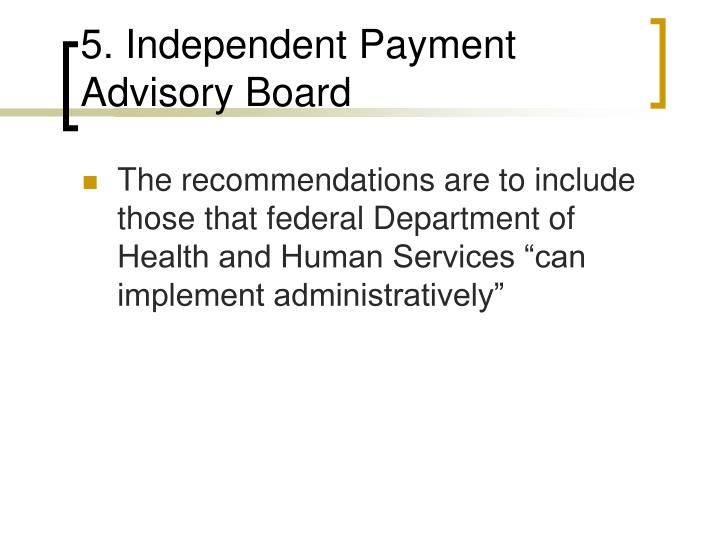 5. Independent Payment Advisory Board