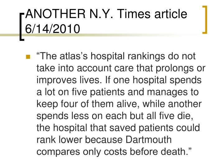 ANOTHER N.Y. Times article 6/14/2010