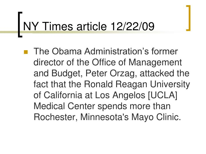NY Times article 12/22/09